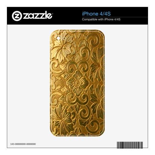 piel adornada del iPhone 4/4S del vintage elegante Calcomanías Para iPhone 4S