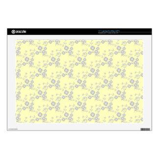 PIEL Aerosol-AMARILLA floral del ORDENADOR 43,2cm Portátil Calcomanía