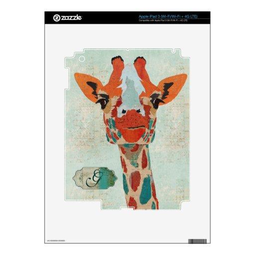 Piel ambarina del monograma de la jirafa   que mir iPad 3 skins