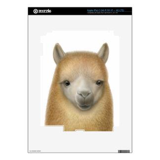 Piel amistosa de Zazzle de la cara de la alpaca iPad 3 Pegatinas Skins