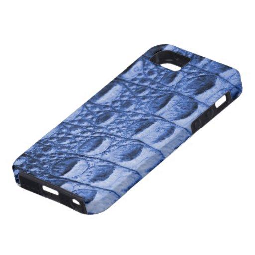 Piel azul de Croc iPhone 5 Carcasa
