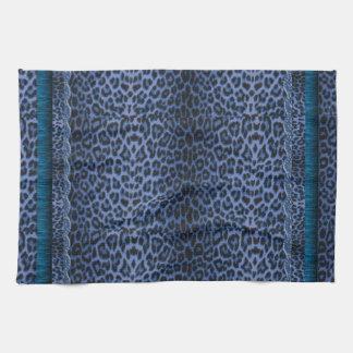Piel azul del leopardo y toalla de cocina de lujo