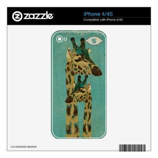 Piel azul del monograma de las jirafas de Boho Skins Para eliPhone 4