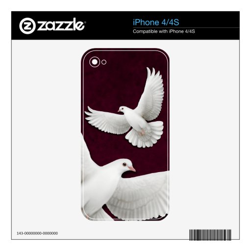 Piel blanca del iPhone 4/4S de las palomas que vue Calcomanía Para El iPhone 4S
