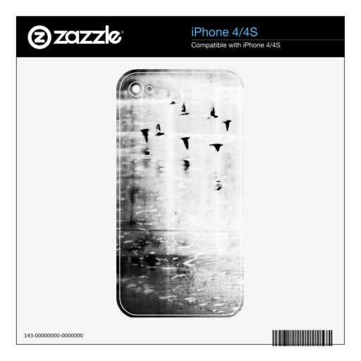 Piel blanco y negro del iPhone de los pájaros Calcomanías Para El iPhone 4