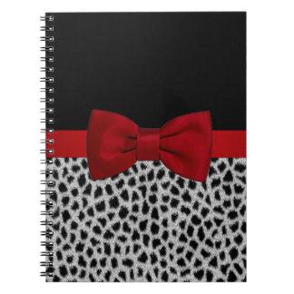 Piel blanco y negro elegante linda del leopardo libro de apuntes con espiral