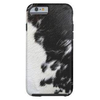 Piel blanco y negro fresca de la vaca funda para iPhone 6 tough