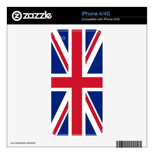 piel británica del iphone 4/4s del Union Jack de l Skin Para El iPhone 4