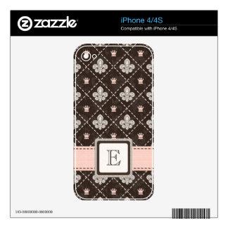 Piel con monograma rosada 4/4s del iPhone de la fl Calcomanías Para iPhone 4
