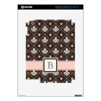 Piel con monograma rosada del iPad 3 de la flor de iPad 3 Skins