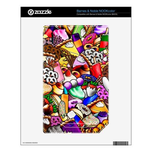 Piel de Barnes & Noble NOOKcolor de los dulces y d Calcomanías Para NOOK Color
