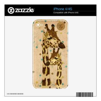 Piel de bronce de oro del monograma de las jirafas calcomanía para iPhone 4S
