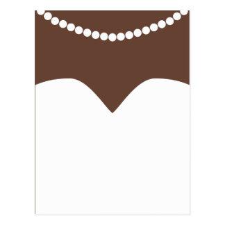 Piel de Brown del collar de la perla del vestido Postal