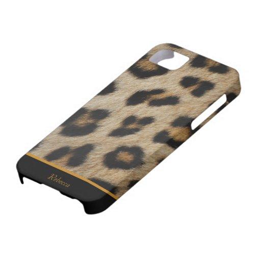 Piel de encargo de la piel del leopardo iPhone 5 Case-Mate coberturas
