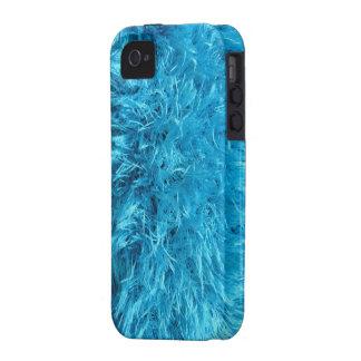 Piel de imitación - pelusa azul eléctrica vibe iPhone 4 fundas