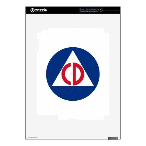 piel de la defensa civil calcomanía para el iPad 2