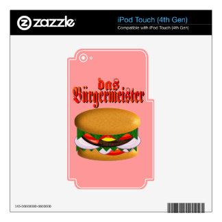 piel de la GEN del tacto del das Burgermeister iPo Calcomanía Para iPod Touch 4G