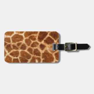 Piel de la jirafa etiqueta de equipaje