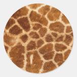 Piel de la jirafa etiqueta redonda