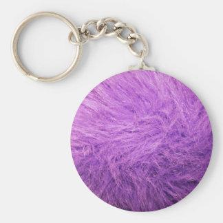 Piel de la púrpura de la lila llavero redondo tipo pin
