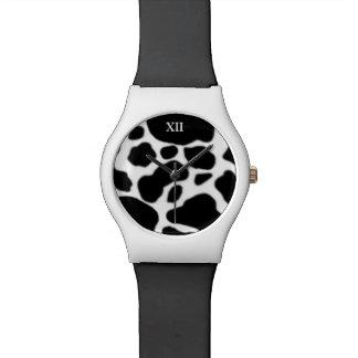 piel de la vaca del animal del campo del b&w relojes