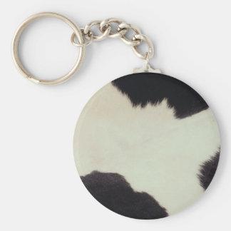 Piel de la vaca llavero redondo tipo pin
