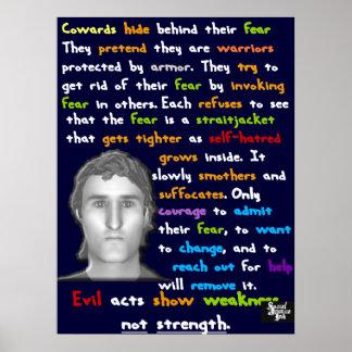 Piel de los cobardes detrás de su miedo póster