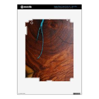 PIEL DE MADERA del EMBUTIDO de la TURQUESA del MES iPad 3 Skins