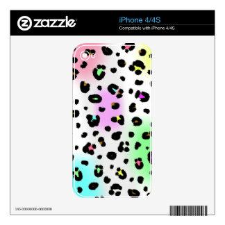 Piel de neón del iPhone 4/4S del estampado leopard Skins Para eliPhone 4