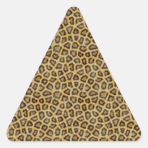 Piel de oro del leopardo pegatina triangular