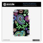 Piel de Paisley y de las flores iPod Touch 4G Calcomanía