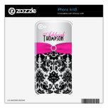 Piel de plata negra rosada del damasco iPhone4/4s Calcomanía Para iPhone 4S