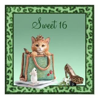 Piel de princesa Kitten Green Faux Leopard del Invitacion Personalizada