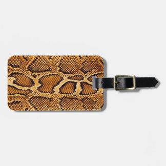 Piel de serpiente etiquetas de equipaje