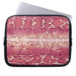 Piel de serpiente rosada exótica 3 fundas computadoras