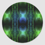 Piel de serpiente verde del resplandor pegatina redonda