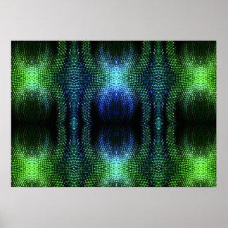 Piel de serpiente verde del resplandor póster