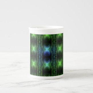 Piel de serpiente verde del resplandor tazas de porcelana