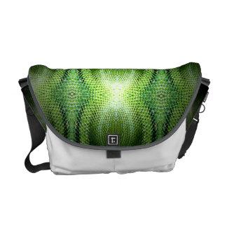 Piel de serpiente verde oscuro bolsas de mensajería