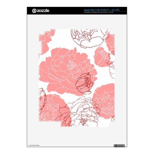 Piel de Zazzle del adorno de la flor del Peony iPad 3 Skin