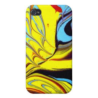 Piel del ARTE del pavo real/caso abstractos - aceb iPhone 4 Carcasas