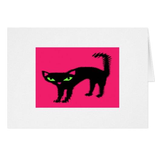 Piel del gato del gatito del maullido del gato neg felicitaciones
