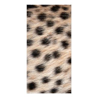 piel del guepardo o plantilla manchada negro de la tarjeta con foto personalizada