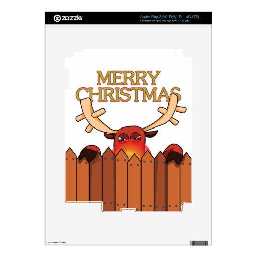 Piel del iPad 3 de las Felices Navidad del reno Pegatinas Skins Para iPad 3