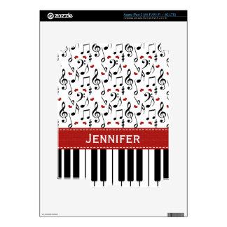 Piel del iPad 3 del piano de la nota de la música iPad 3 Skin