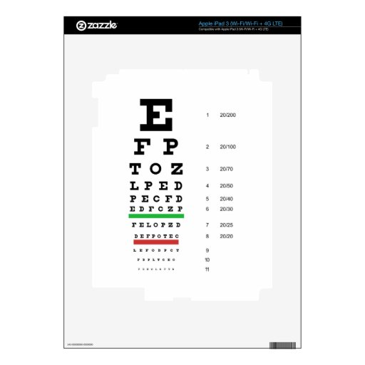 Piel del iPad de la carta de ojo de Snellen iPad 3 Skins