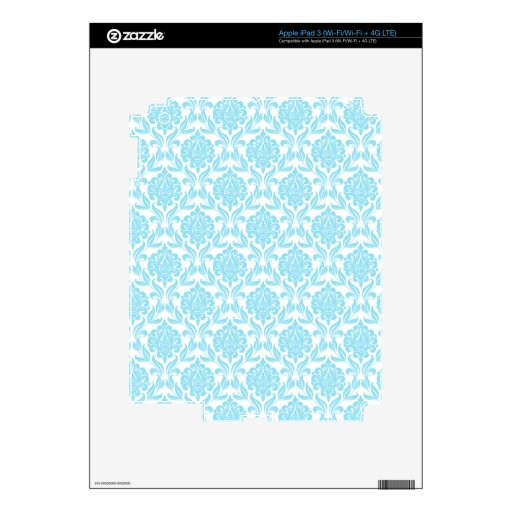 Piel del iPad del modelo del damasco de los azules Pegatina Skin Para iPad 3