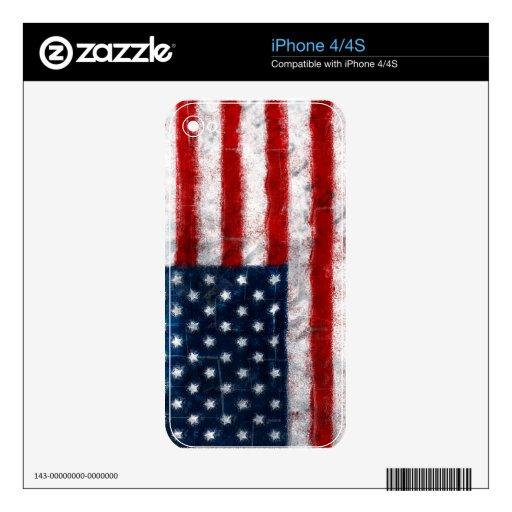 Piel del iPhone 4/4S del retrato de la bandera ame Calcomanías Para El iPhone 4S