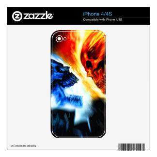 Piel del iPhone 4 de la rivalidad del cráneo Calcomanías Para El iPhone 4S