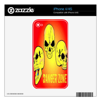 Piel del iPhone 4 del cráneo de la zona peligrosa iPhone 4 Skin